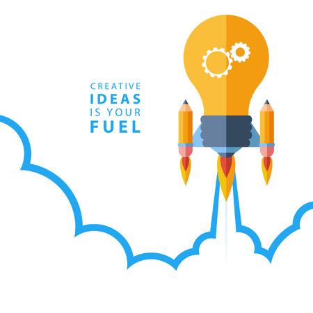 cohetes: Ideas creativas es su combustible. Diseño plano colorido concepto ilustración vectorial para la creatividad, la gran idea, el trabajo creativo, partiendo nuevo proyecto.