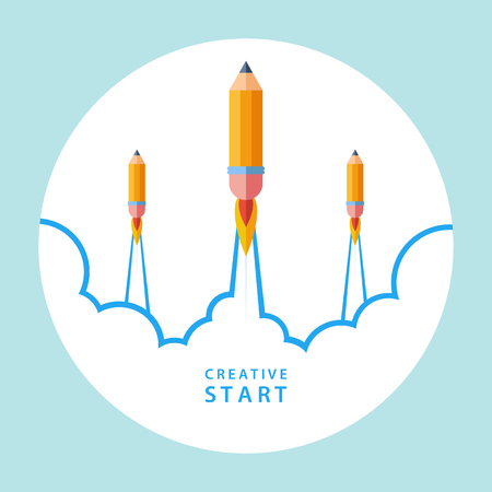 Creative start concept. Start up with pencil rocket. Vector illustration.