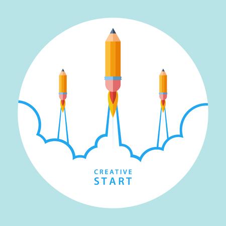 Creative start concept. Opstarten met potlood raket. Vector illustratie. Stock Illustratie