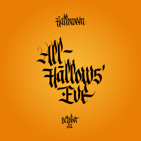 hallow: All hallows eve calligraphy. Halloween lettering. Vector illustration. Illustration