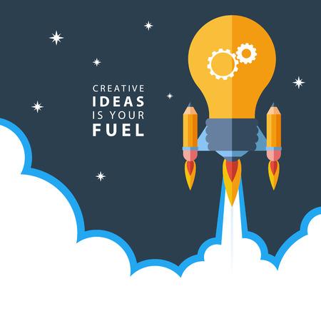 컨셉: 창조적 인 아이디어는 당신의 연료입니다. 창의성 플랫 디자인 다채로운 벡터 일러스트 레이 션 개념, 큰 생각, 창조적 인 작업, 새로운 프로젝트를 시