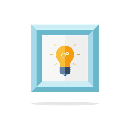 idea symbol: Blue picture frame with light bulb. Idea symbol. Vector illustration.