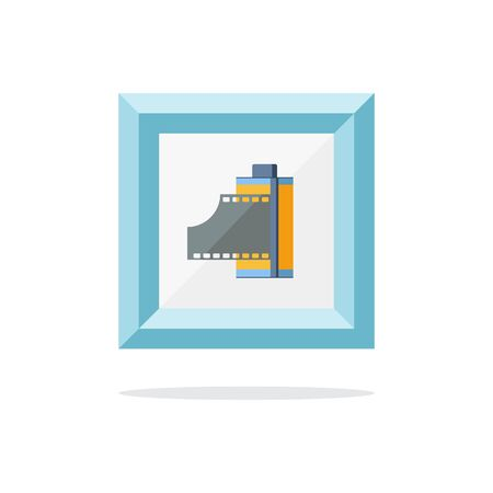 cartridge: Blue picture frame with photo film in cartridge. Vector illustration. Illustration