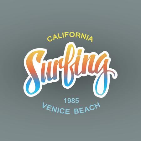 surf vector: Surfing. Calligraphy. Handwritten word. Surf typography, t-shirt graphics. Vector illustration.