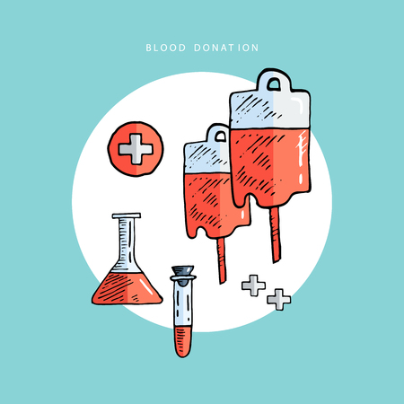 blood bag: Blood donation. Donor. Medicine. Healthcare and medical research. First aid help. Vector illustration.