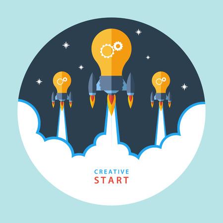 Creatief startconcept. Platte ontwerp kleurrijke vector illustratie concept voor creativiteit, groot idee, creatief werk, beginnend nieuw project.