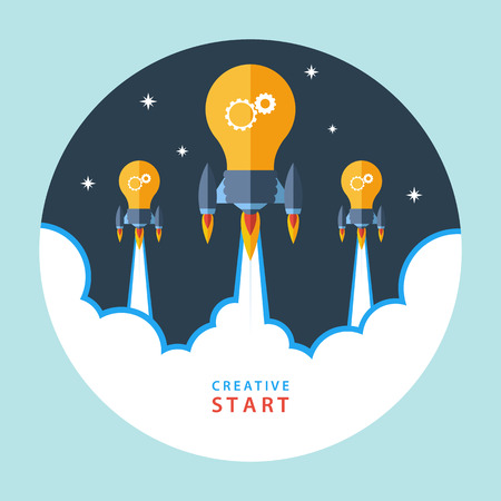 Creative start concept. Flat design colorful vector illustration concept for creativity, big idea, creative work, starting new project.