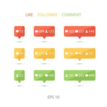 design media love: Like, follower, comment icons on white background. Vector illustration. Illustration