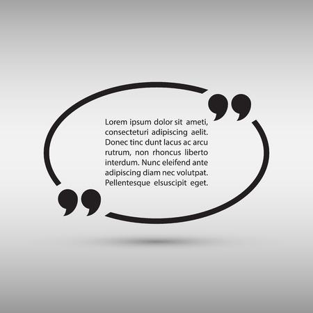 Ovale citaat tekstbel op grijze achtergrond. Vector illustratie.