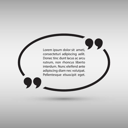 Oval quote text bubble on gray background. Vector illustration.