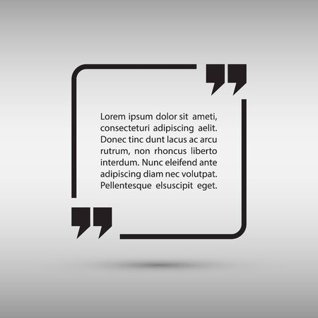 text frame: Square quote text bubble on gray background. Vector illustration.