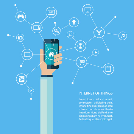 objects: Internet of things concept with human hand holding smartphone. Vector illustration.