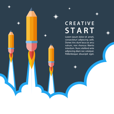 Creative start concept. Start up with pencil rocket. Night sky. Vector illustration.