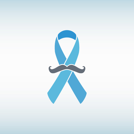 prostate: Prostate cancer ribbon awareness with mustache vector illustration.