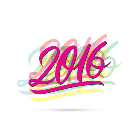 happy new year text: Happy new year 2016 text design. Vector illustration.