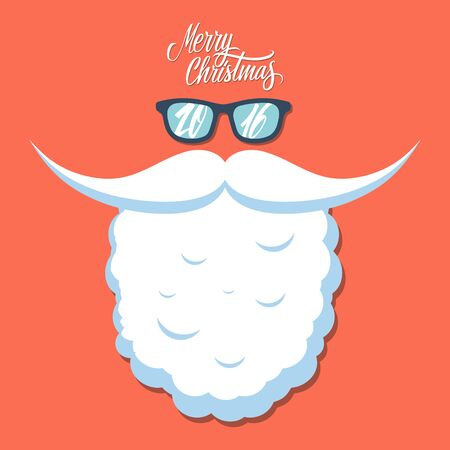 sunglasses: Christmas poster for party or greeting card. New year 2016. Santas beard and sunglasses.