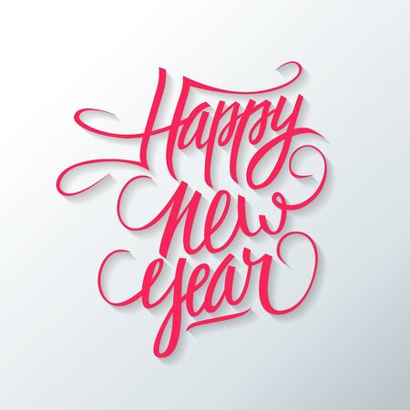 text year: Happy new year hand drawn text design. Greeting card. Vector illustration. Illustration