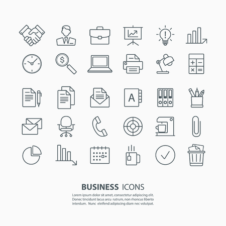 pen on paper: Outline business and office icons set. Vector illustration.