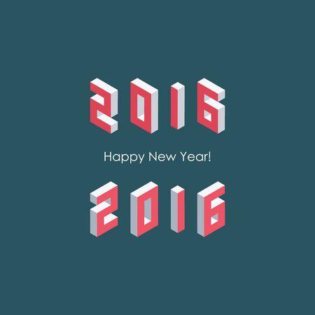 web 2 0: Happy new year 2016 isometric text design.