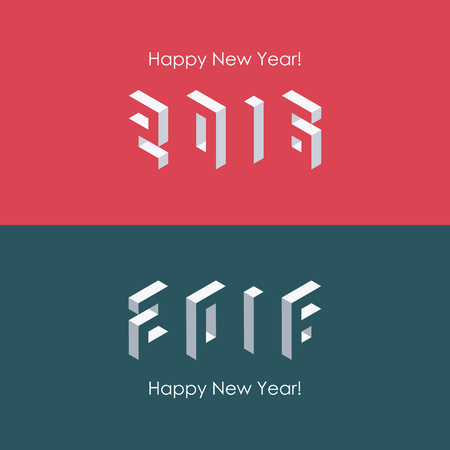 calendar: Happy new year 2016 isometric text design. Vector illustration.