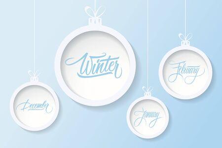 blue ball: Hanging christmas balls with handwritten text winter, december, january, february. Vector illustration. Illustration