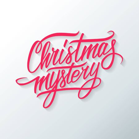 mystery: Christmas mystery hand drawn text design. Greeting card. Vector illustration.