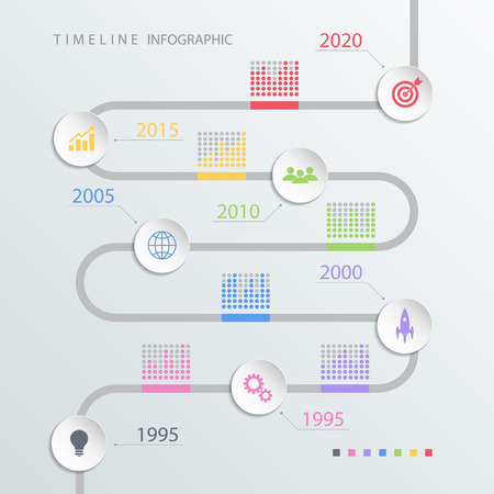 set the intention: Road timeline infographic design template with color icons. Vector illustration for workflow layout, diagram, number options, web design.