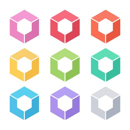 graphic icon: Set of abstract cube template. Illustration