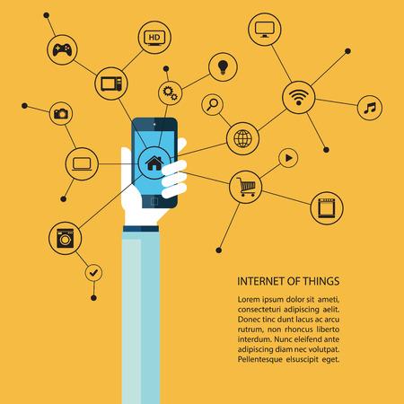 Internet van de dingen concept met de menselijke hand houden smartphone en zwarte pictogrammen. Vector Illustratie