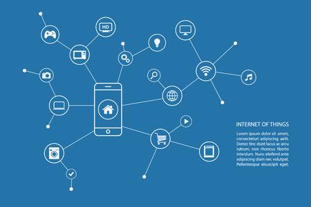 Internet van de dingen concept met slimme telefoon en witte pictogrammen.