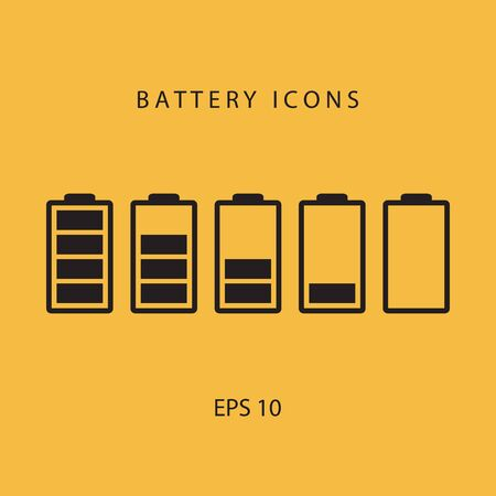 telephone icon: Set of black battery icons. Illustration