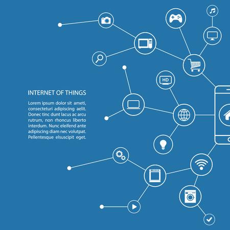 Internet de las cosas con el concepto de teléfono inteligente y los iconos blancos.