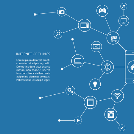 internet phone: Internet of things concept with smart phone and white icons.  Illustration