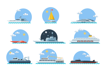 sea side: Set of sea ships. Maritime transport in flat design style. Side view vector illustration.