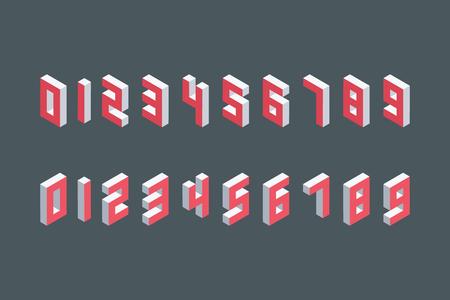 numeros: Colecci�n de los n�meros isom�tricos. Tridimensionales elementos. Ilustraci�n del vector.