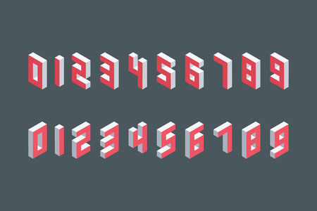 numbers abstract: Collection of the isometric numbers. Three-Dimensional elements. Vector illustration.