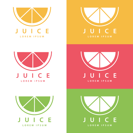fruit drink: Set of color lime or lemon fruit drink icon templates. Vector illustration.