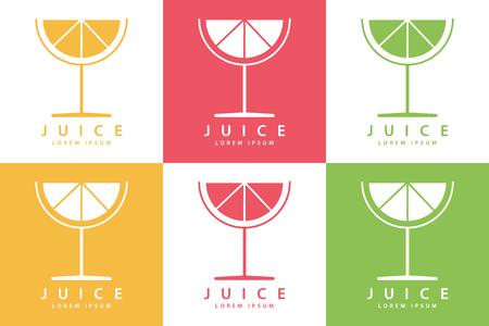 Conjunto de color lima o plantillas icono de la bebida de fruta de limón. Ilustración del vector.