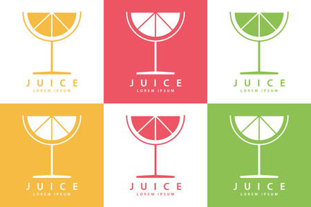 lemon juice: Set of color lime or lemon fruit drink icon templates. Vector illustration.
