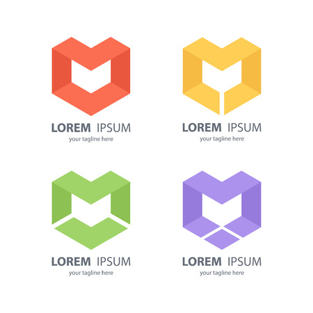 cubes: Set of letter M abstract design logos. Vector illustration. Illustration