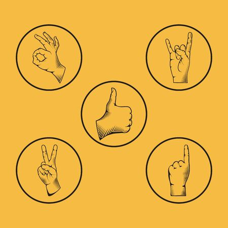 v shape: Set of hand gesture vector illustration. Isolated on yellow background. Illustration