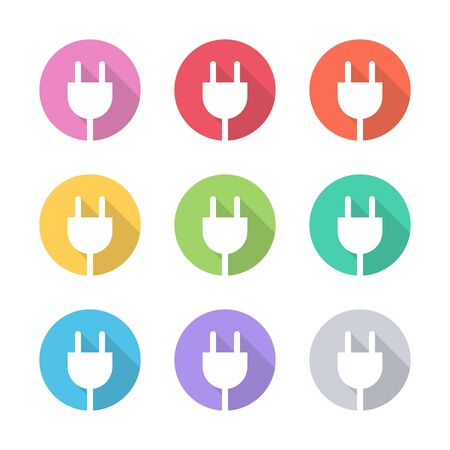 energy background: Set of color electric plug icons. Vector illustration.