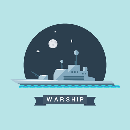 warship: Warship flat vector illustration.