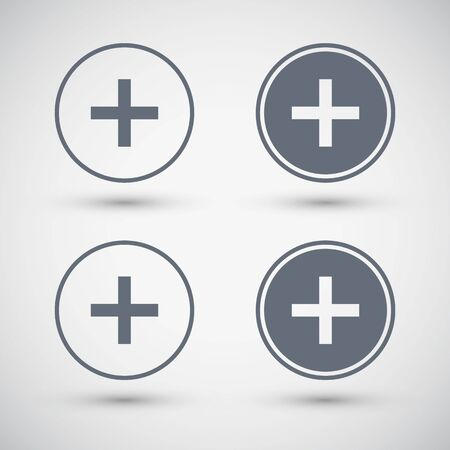 Plus sign icons. Plus sign buttons. Vector illustration.