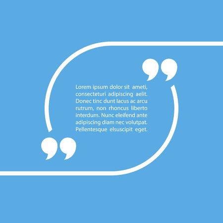 Quote text bubble on blue background. Vector illustration. Ilustração