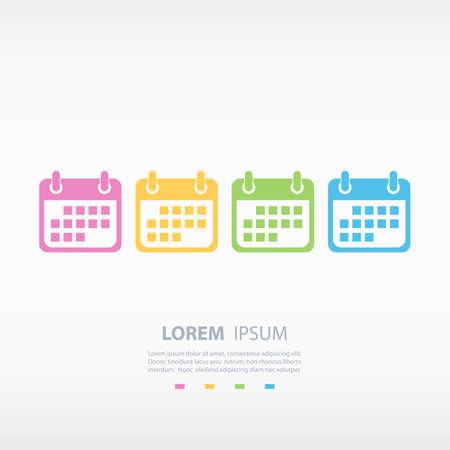 calendar icons: Set of color calendar icons. Vector illustration.