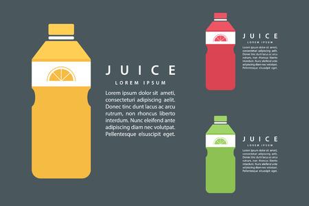 fruits juice: Lime or lemon fruit drink in bottle template design. Flat color vector illustration.