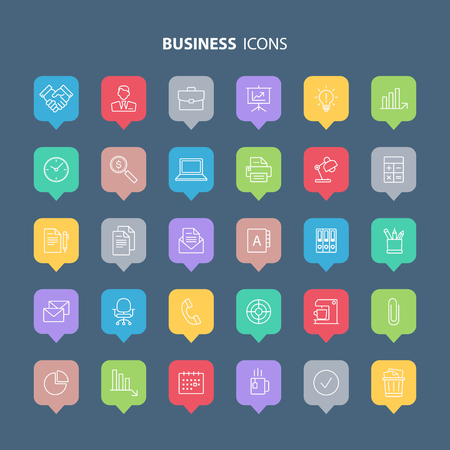 chart vector: Outline business and office icons set. Vector illustration.