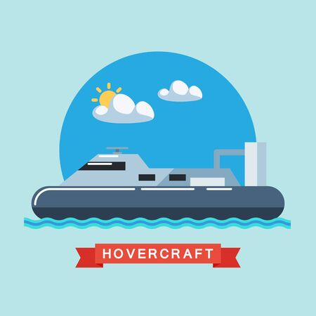the hovercraft: Hovercraft flat vector illustration.