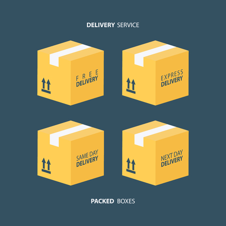 next day: Boxes icons set. Packed boxes. Carton package box icons. Free delivery, express delivery, same day delivery, next day delivery. Vector illustration. Illustration